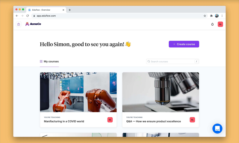 Screenshot of Eduflow with visual customizations